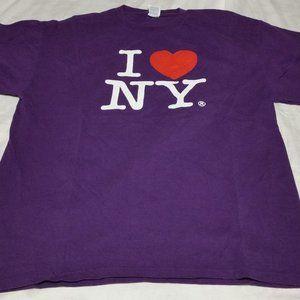 I LOVE NY T-SHIRT  PURPLE SIZE MENS LARGE